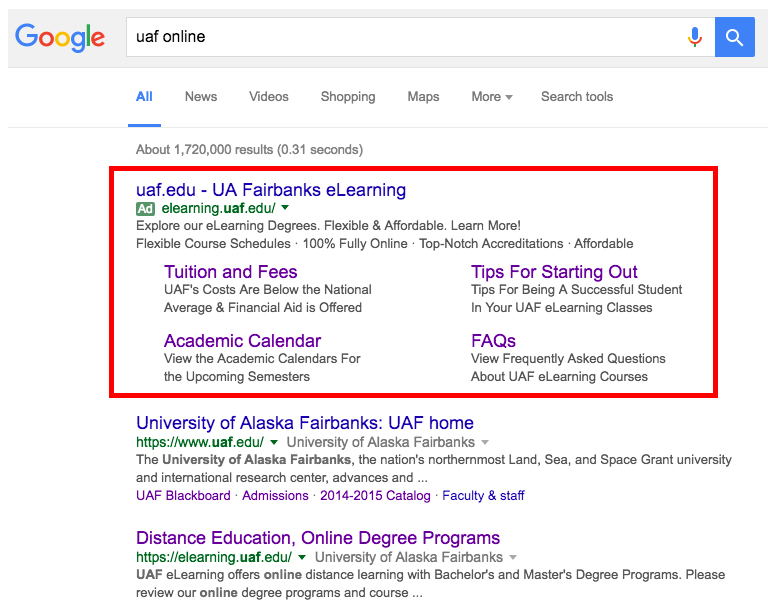 Google search showing UAF eCampus ad