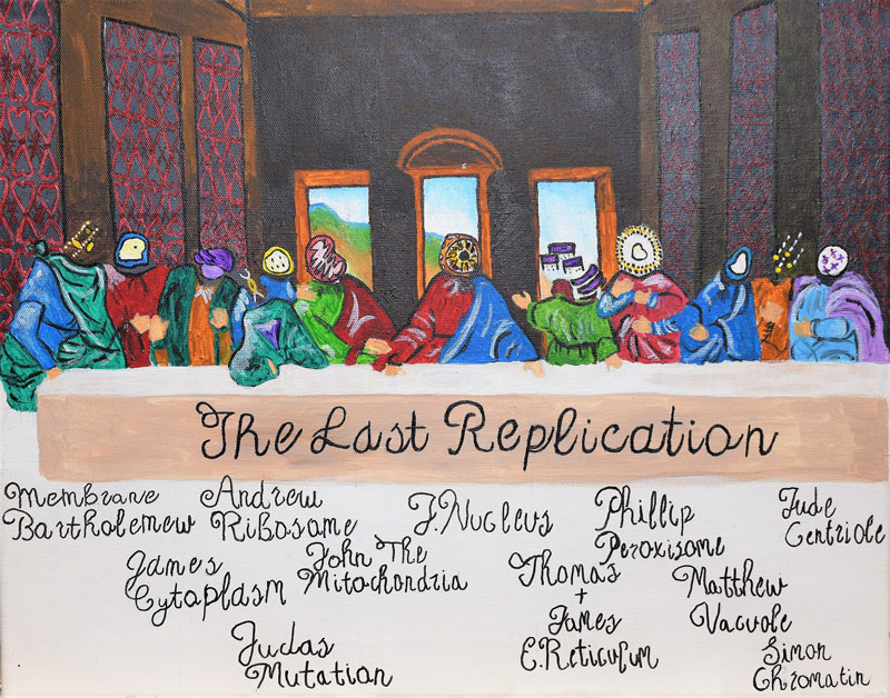 A painted interpretation of the Last Supper where the faces are replaced with biology cells.
