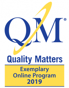 Quality Matters badge for Exemplary Online Program 2019