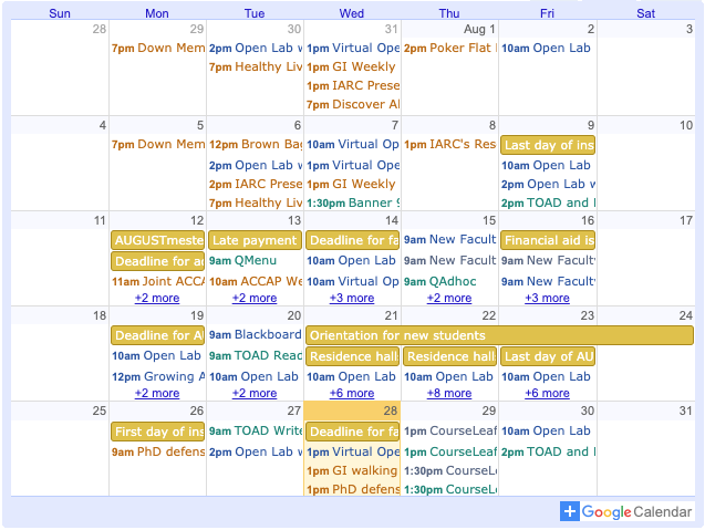Calendar showing a lot of faculty development events.