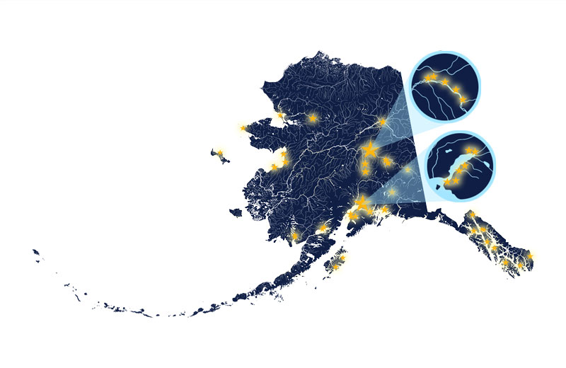 Map of Alaska with stars pinpointing where Advantage students are located.