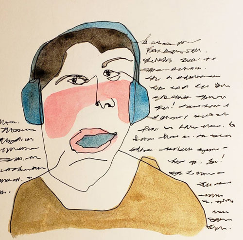 A pen-and-watercolor sketch of a man with headphones on.