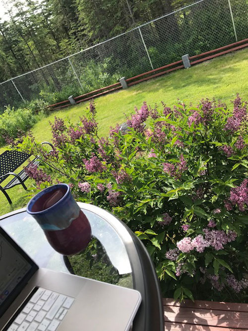 A laptop and ceramic mug on a table in front of purple flowers and lush green grass.