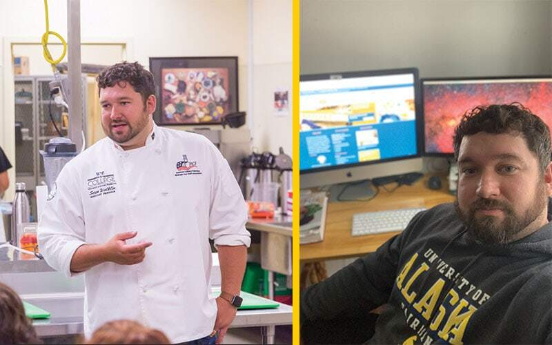 Sean Walklin teaching in his chef's coat on the left and then again in a UAF sweatshirt in front of his computer on the right.