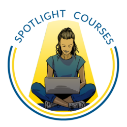 """""""Spotlight Courses"""" on top of a graphic of a person on a laptop."""