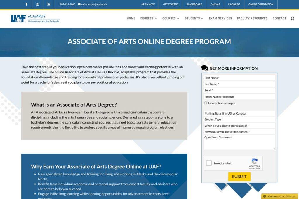 Screenshot of the Associate of Arts program page on UAF eCampus website.