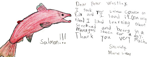 Drawing of a salmon by a nine-year-old edX student.